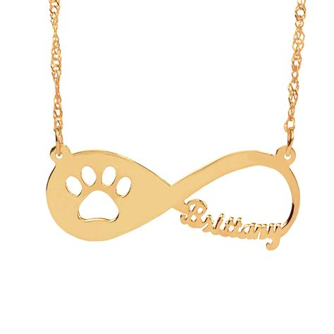And Paw Necklace infinity paw necklace with name