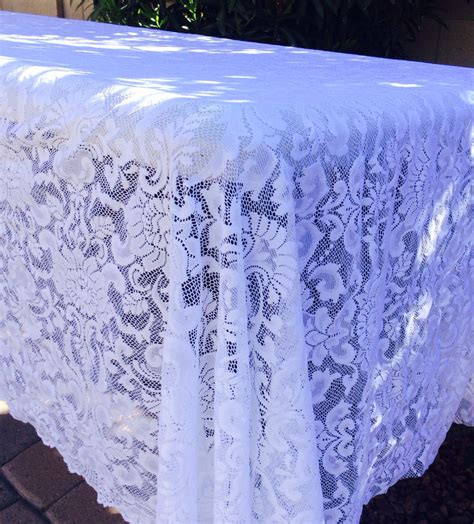 9ft white lace overlay vintage tablecloth by lovelylacedesigns