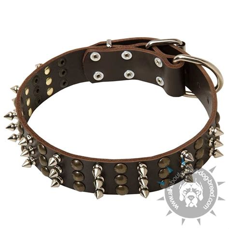 spiked collars for pitbulls get new quality leather collar spiked accessory