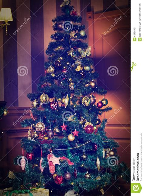 decorated homes interior tree decorated at home interior stock photo