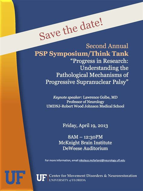save the date flyer template save the date for the 2nd annual psp symposium think tank 187 movement disorders