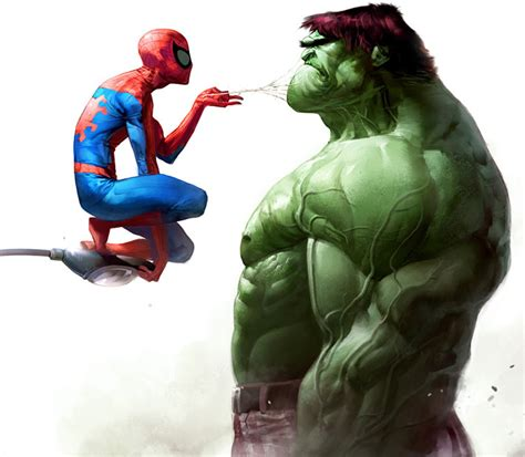 spidey vs hulk by christian nauck