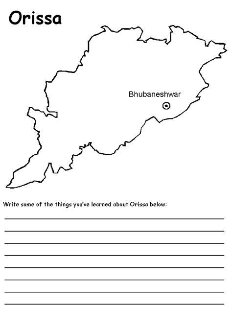 Odisha Map Outline by India S States Maps Orissa