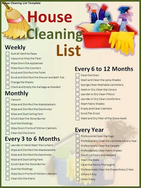 cleaning schedule for the home
