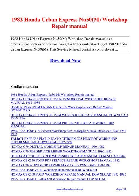 1982 Honda Urban Express Nu50 M Workshop Repair Manual By