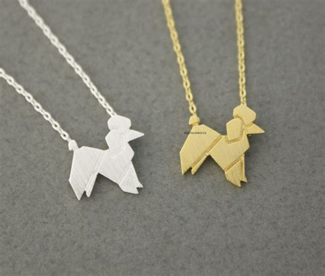 Origami Poodle - origami lovely balloon poodle necklace in 2 colors