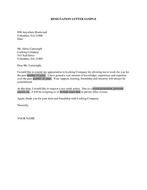 How To Prepare A Resignation Letter by Sle Of Resignation Letter Slebusinessresume Slebusinessresume