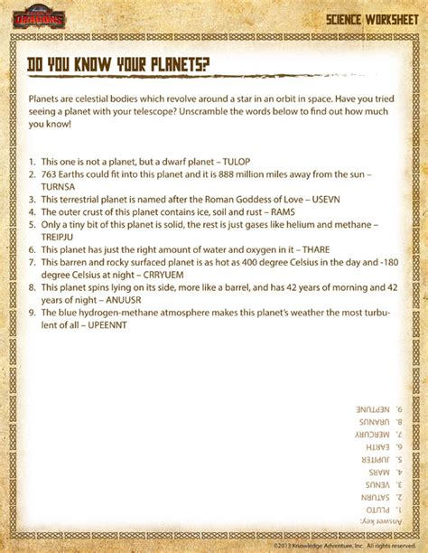 3rd Grade Science Worksheets by Science Worksheets For 3rd Grade Planets Research A Pla