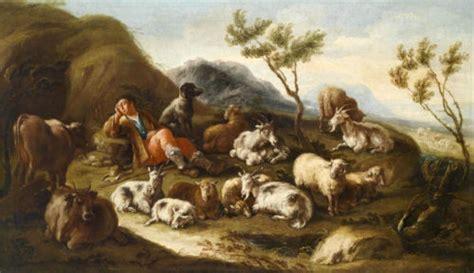 surprised oil painting sleeping shepherd  sheep cows