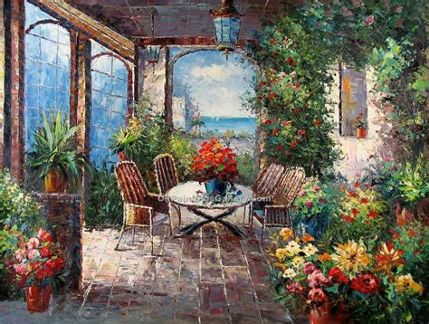 Mediterrane Bilder Gemalt by Mediterranean Patio Painting Id La 3155 Ka