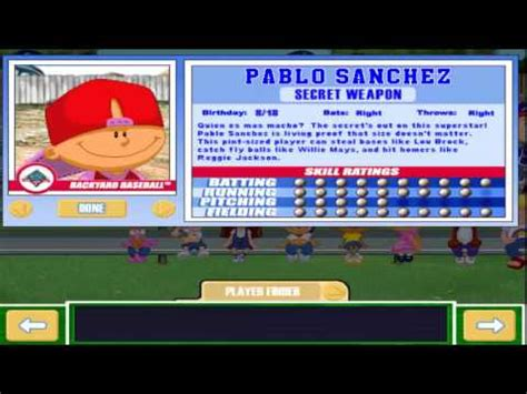 pablo backyard baseball backyard baseball pablo sanchez pablo sanchez theme song