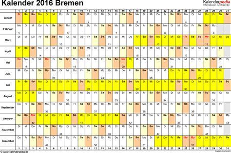 Ostern Kalender 2016 Kalender 2016 Bremen Ferien Feiertage Excel Vorlagen