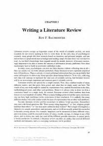 How To Write Literature Review For Project Report by Writing A Literature Review Springer