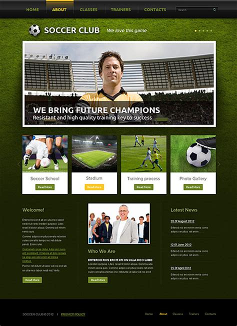 soccer html template soccer club html template id 300111564 from simavera