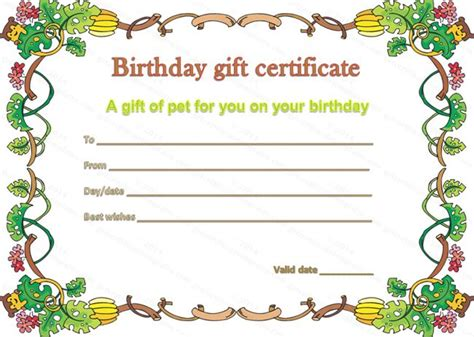 birthday gift certificate template pet gift certificate template for birthday beautiful