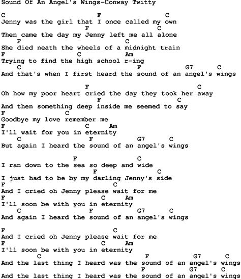 printable wings lyrics country music sound of an angel s wings conway twitty
