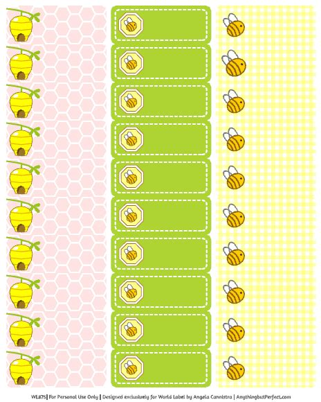 baby shower labels in a bumble bee girls theme