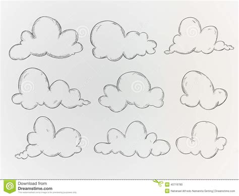 sketchbook vector clouds sketch vector pack stock vector image 40719780