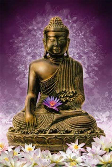 Purple Flower Wall Murals sitting buddha holding a purple lotus flower popartuk