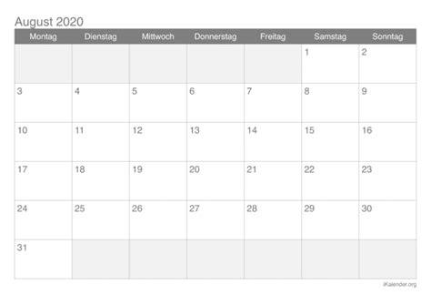 kalender august  zum ausdrucken ikalenderorg