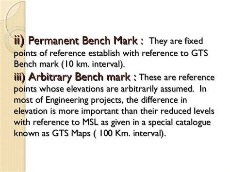 permanent bench mark types of level
