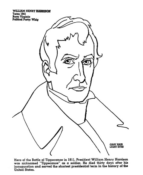 coloring pages of united states presidents president harrison coloring page printable coloring