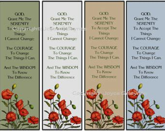 free printable nature bookmarks printable bookmarks poppies and serenity prayer original
