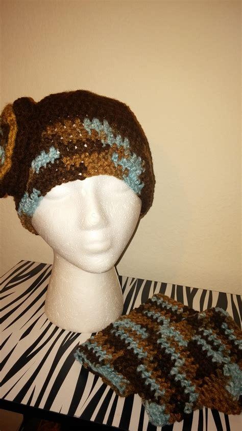 Handmade Crochet Hat - handmade crochet brown mix hat fingerless gloves set hats