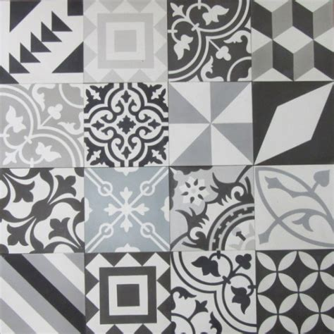 Patchwork Tiles - encaustic cement tile patchwork black and white hadeda