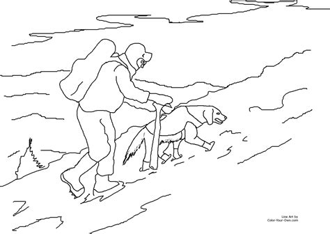Rescue Dogs Coloring Pages | search and rescue dog in snow coloring page