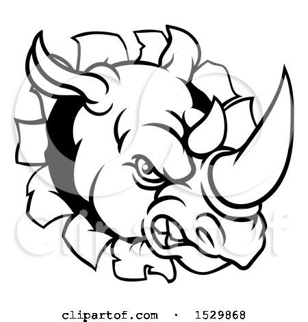 clipart of a black and white tough rhinoceros sports