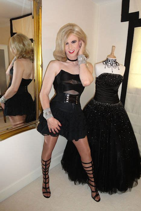 crossdressers and tg women what is your feminine style ashley in black satin and what a fabulous cross dresser