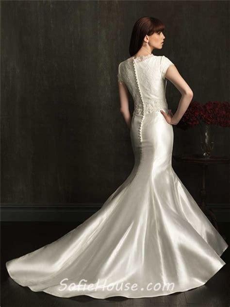 modest mermaid wedding dresses modest fitted mermaid high neck cap sleeve taffeta beaded
