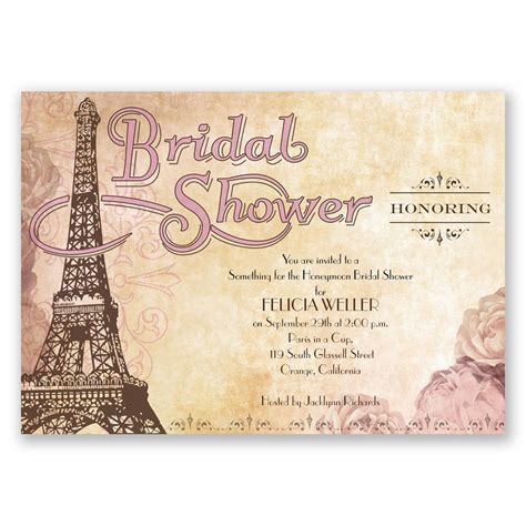bridal shower theme invitations eiffel tower bridal shower invitation invitations by