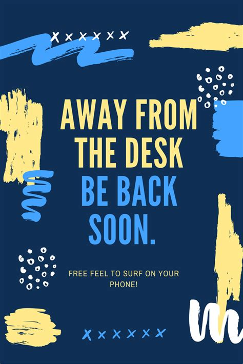 away from desk sign freestanding away desk sign green clean designs away from