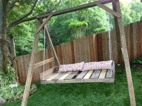 swinging bed frame 40 diy pallet swing ideas 99 pallets