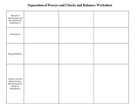 Checks And Balances Worksheet by Checks And Balances Worksheet Lesupercoin Printables