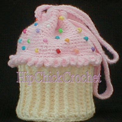New Totebag Cup Cake B large version cupcake purse or tote bag crochet pattern