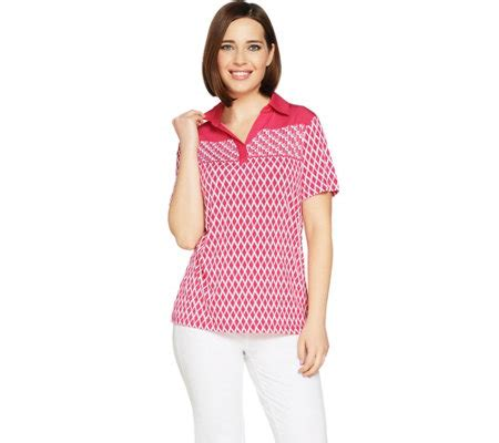 Susan Graver Original by Quot As Is Quot Susan Graver Printed Liquid Knit Polo Shirt Qvc