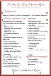 Sample Resume For Stay At Home Mom Resume For Stay At Home Mom Returning To Work Resume And