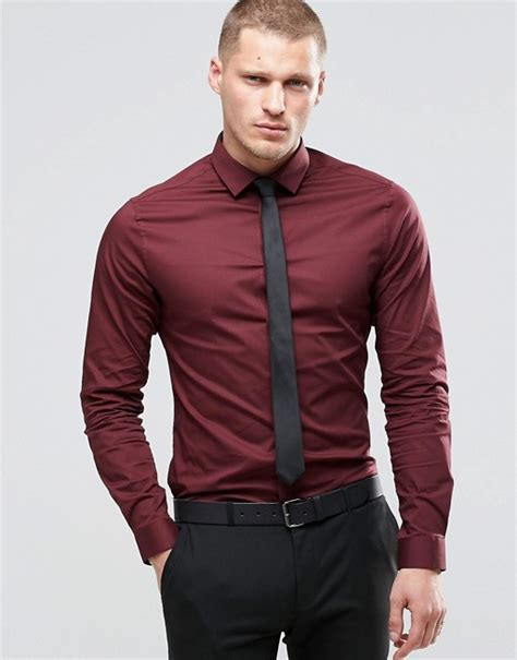 Crd Sweater Newback Maroon asos asos shirt in burgundy with sleeves and black tie set save 15