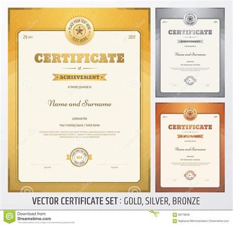 wordpress themes gold silver bronze certificate of achievement template cartoon vector