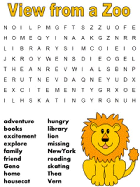 printable zoo animal word search view from a zoo word search