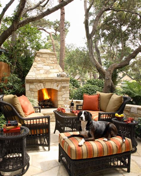 Outdoor Rooms With Fireplaces Patio Mediterranean With Outdoor Fireplace Decor