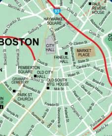 Boston Hotels Map by Downtown Boston Ma Maps Attractions Street Location