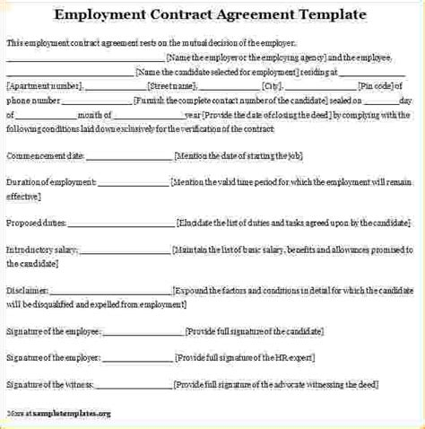 contract for hire template 6 employee agreement template timeline template