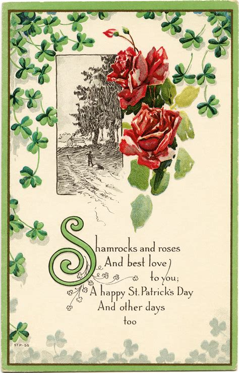printable postcard sts shamrocks and roses free vintage postcard image old