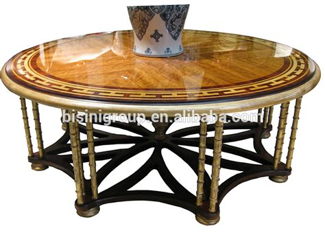 Luxury Elegant French Flower Coffee Table,Full Handmade French Furniture With Marquetry Veneer