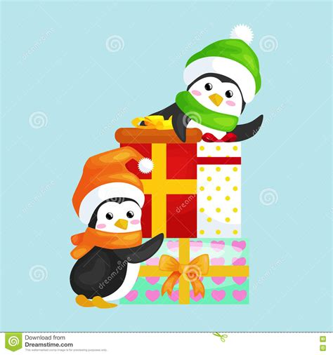 new year animals vector two happy penguin in hat and scarf are a