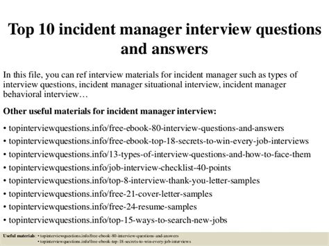 Incident Manager Cover Letter Top 10 Incident Manager Questions And Answers
